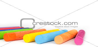 Oil Pastel Crayons isolated on white