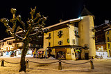 Illuminated Central Square of Megeve in French Alps, France
