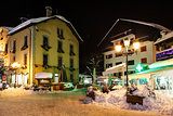 Illuminated Street of Megeve on Christmas Eve, French Alps, Fran