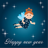 New year's card with fairy