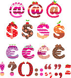 Sweet punctuation marks, dollar sign and euro