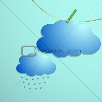 Cloud and rain drops icon hang on string