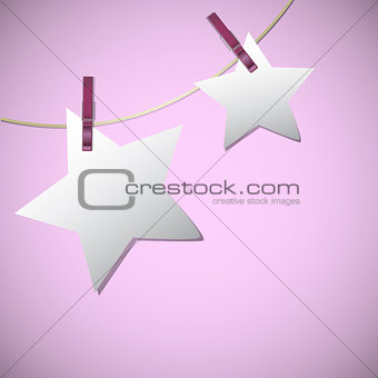 Star shape of note papers hang on string with clothes pin