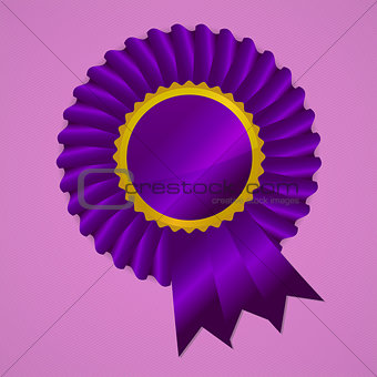 Violet award ribbon rosette on pink background