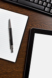 touch tablet and blank paper
