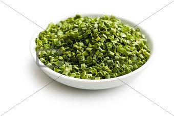 €‹green chives in ceramic bowl