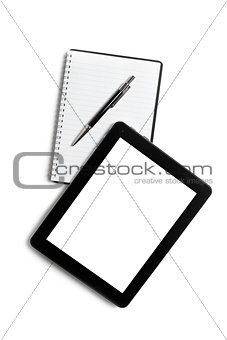 touch tablet and blank notebook