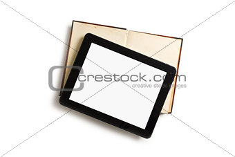 touch tablet with old book