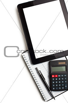 touch tablet with calculator and blank paper