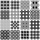 Set of black and white seamless patterns. Vector backgrounds col