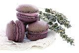 Lavender macaroons on linen napkin.