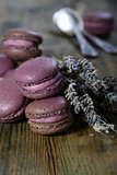 Lavender macaroons with cream of black currant.