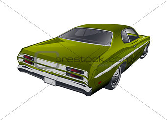 Green American muscle car