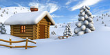 Log cabin in snowy countryside