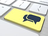 Blank Speech Bubbles on Computer Button.