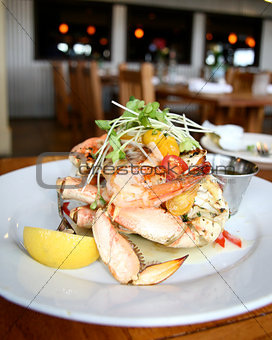 A Dish of Delicious Seafood with Crabs