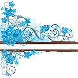 Brown grunge banner with turquoise flowers