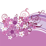 Pink floral banner isolated on white background