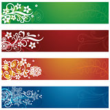 Set of four seasonal flowers and snowflakes banners