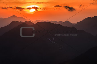 Sunset over the Fagaras Mountains, Southern Carpathians