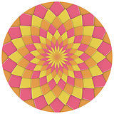 abstract geometric floral pattern in pink yellow orange