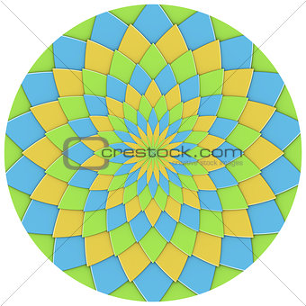 abstract geometric floral pattern in green yellow blue