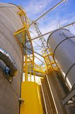 Grain Silos with Yellow Safety Areas