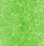 Seamless abstract hand-drawn green pattern with hearts.