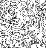 Seamless abstract hand-drawn pattern flowers.