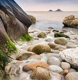 Long expouisre rocky beach landscape
