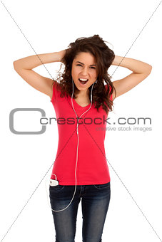 Excited teenage girl listen music