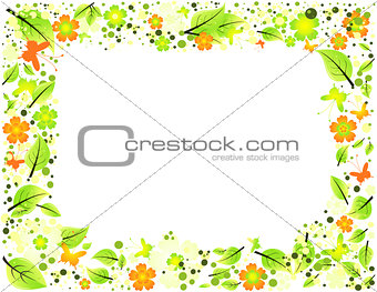 Abstract frame from leaves, flowers and butterflies