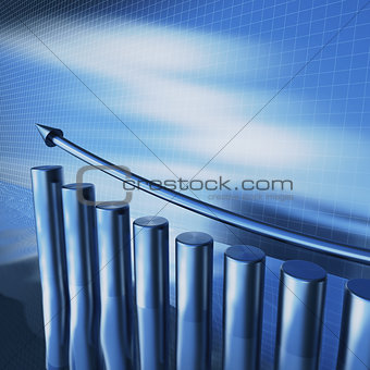 blue metallic columns of diagram with arrow on a water surface