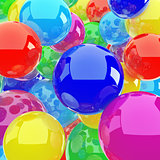 red blue yellow spheres in the form of the background image