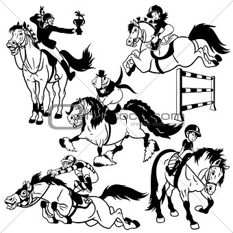 black white set with cartoon horse riders