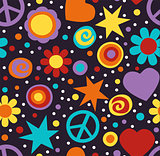 Flower power hippie seamless pattern