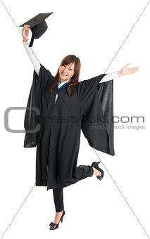 Graduate student jumping