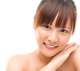 Asian skincare woman pampering her skin