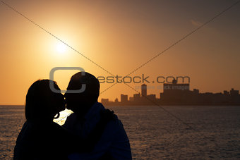 Active retired people, romantic elderly couple in love, kissing