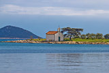 Church on small island coast