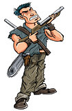 Cartoon hero with shotgun ready to fight zombies