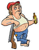 Red neck holding a beer cartoon