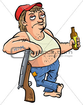 Image Description  Red neck holding a beer cartoon isolated on whiteUneducated Person Cartoon
