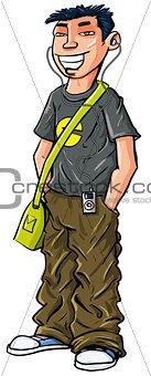 Cartoon teenage Asian boy.