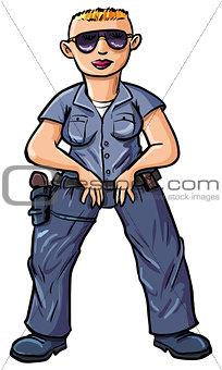 Cartoon policewoman with a blond buss-cut.
