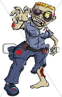 Cartoon zombie police woman