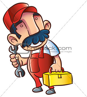 Cartoon plumber with wrench and toolkit