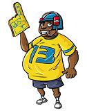 Overweight sports fan