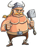 Viking cartoon with a big hammer