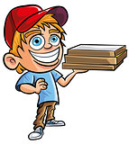 Cartoon of cute Pizza delivery boy